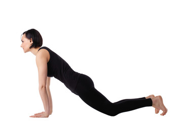 woman doing yoga pose - knee down