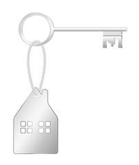Metal key and house