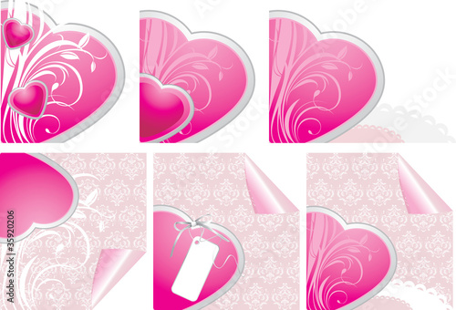 Decorative hearts. Elements for design of Valentines cards