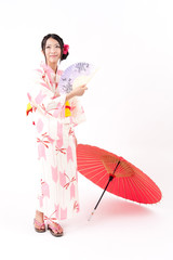 japanese kimono woman with umbrella
