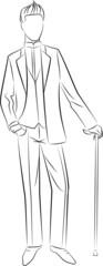 Vintage silhouette of man.Vector