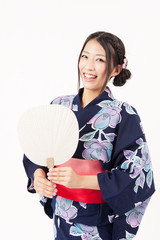 japanese kimono woman with blank fan
