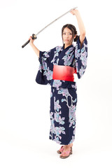 japanese kimono woman with samurai sword