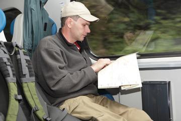 Tourist in the train