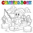 Coloring book fishing penguin