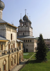 onion dome houses at summer time