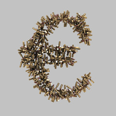 Euro sign made of bullets