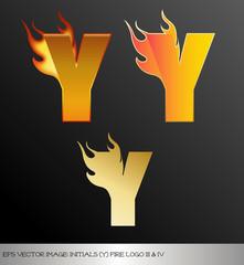 eps Vector image: initials (y)  metallic fire logo Ⅴ