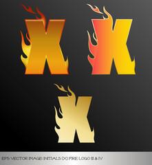 eps Vector image: initials (x)  metallic fire logo Ⅴ