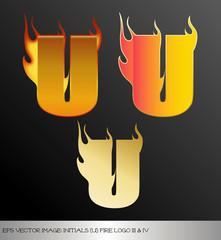eps Vector image: initials (u)  metallic fire logo Ⅴ