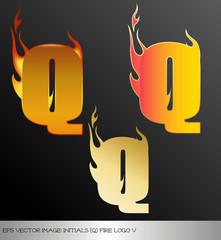 eps Vector image: initials (q)  metallic fire logo Ⅴ