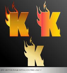 eps Vector image: initials (k)  metallic fire logo Ⅴ