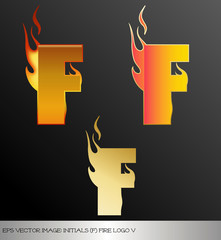 eps Vector image: initials (f)  metallic fire logo Ⅴ