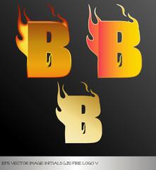 eps Vector image: initials (b)  metallic fire logo Ⅴ