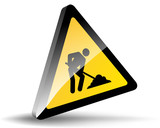 TRIANGLE CONSTRUCTION SITE SIGN (road traffic signpost caution)