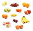 Fruit collection on white background