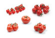 Collection of tomatoes on white background