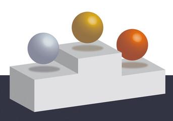 podio esferas ganadores
