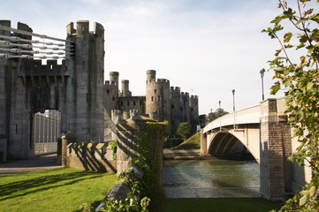 Thomas Telfords suspension bridge At Conwy castle in north Wales