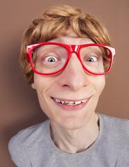 Portrait of a funny nerdy guy