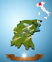 Mappa Cartina Cartoon Iseo Bergamo Lombardia 3d