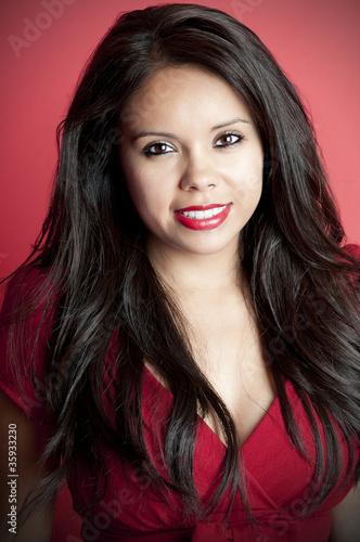 Latina Model in Red