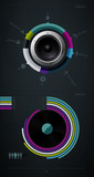 infographic music elements with vinyl and speaker poster