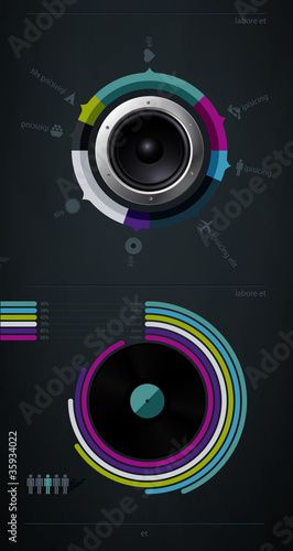 infographic music elements with vinyl and speaker