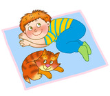 little boy and kitten are lying on a mat