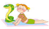 little girl and snake are lying on a mat