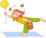 little boy with air ball and three bees