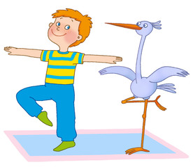 little boy and stork are on a mat