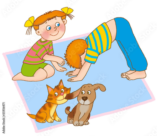 little girl,boy,kitten and puppy are playing on a mat