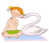 little girl curved neck, depicting a swan