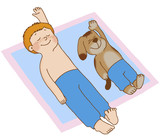 Boy and dog lying on his back, doing gymnastics