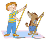boy and dog are doing gymnastic exercises