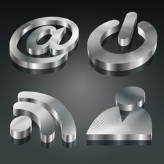 Metalic 3D Symbols Set