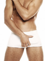 sexy man in white underwear