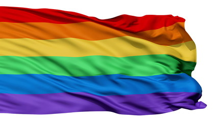 Realistic 3D detailed gay flag in the wind