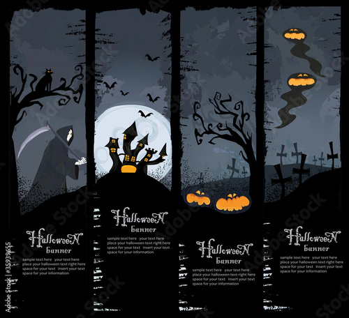 Set of four Halloween banners. Standard size.
