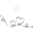 Silver Ribbon 2 Hearts & Swirls