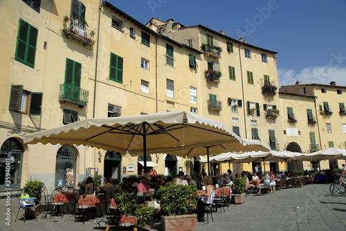 Site of Amphitheatre in Lucca in Tuscany Italy