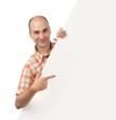 man pointing at blank Billboard