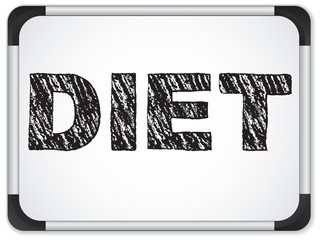 Diet written on whiteboard with chalk.