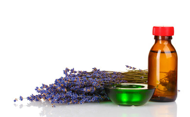 lavender and oil in bottle isolated on white
