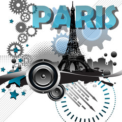 Paris abstract postcard