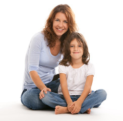 Mother and daughter on a white background