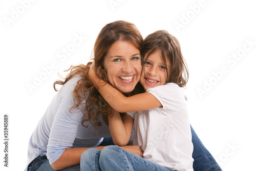 Happy mother and daughter on a white background