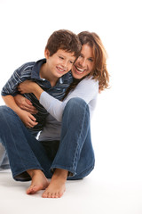 Happy mother and son on a white background
