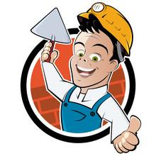 Murarz pracownik budowlany cartoon